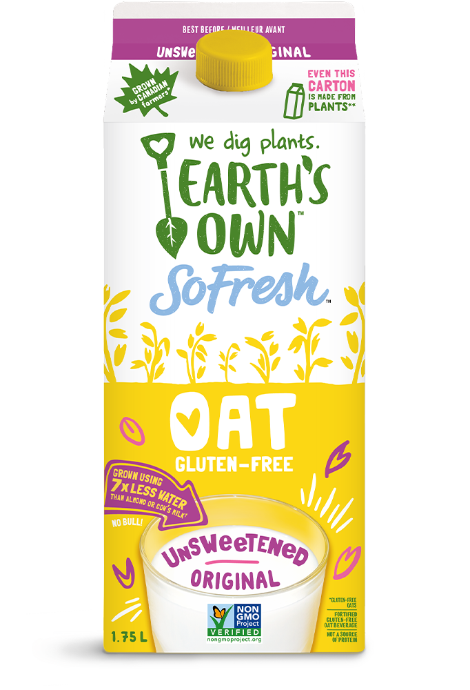 Earth's Own Unsweetened Original Oat Milk – Plant Based Milk – So Fresh Oat Milk – Carton