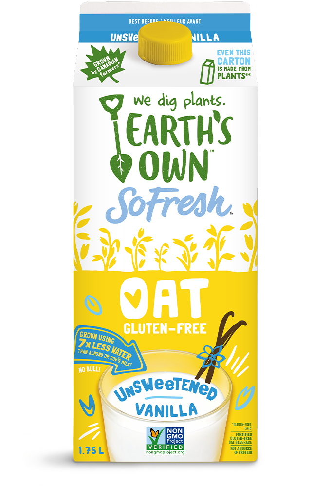 Earth's Own Unsweetened Vanilla Oat Milk – Plant Based Milk – So Fresh Oat Milk – Carton