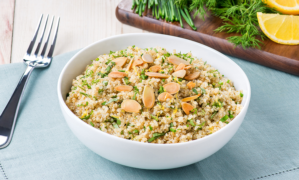 Almond and Fresh Herb Quinoa Salad - Plant Based Milk Recipes – Earth's Own