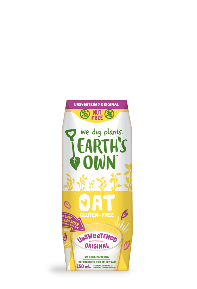 Earth's Own Unsweetened Original Oat Milk for kids on the go